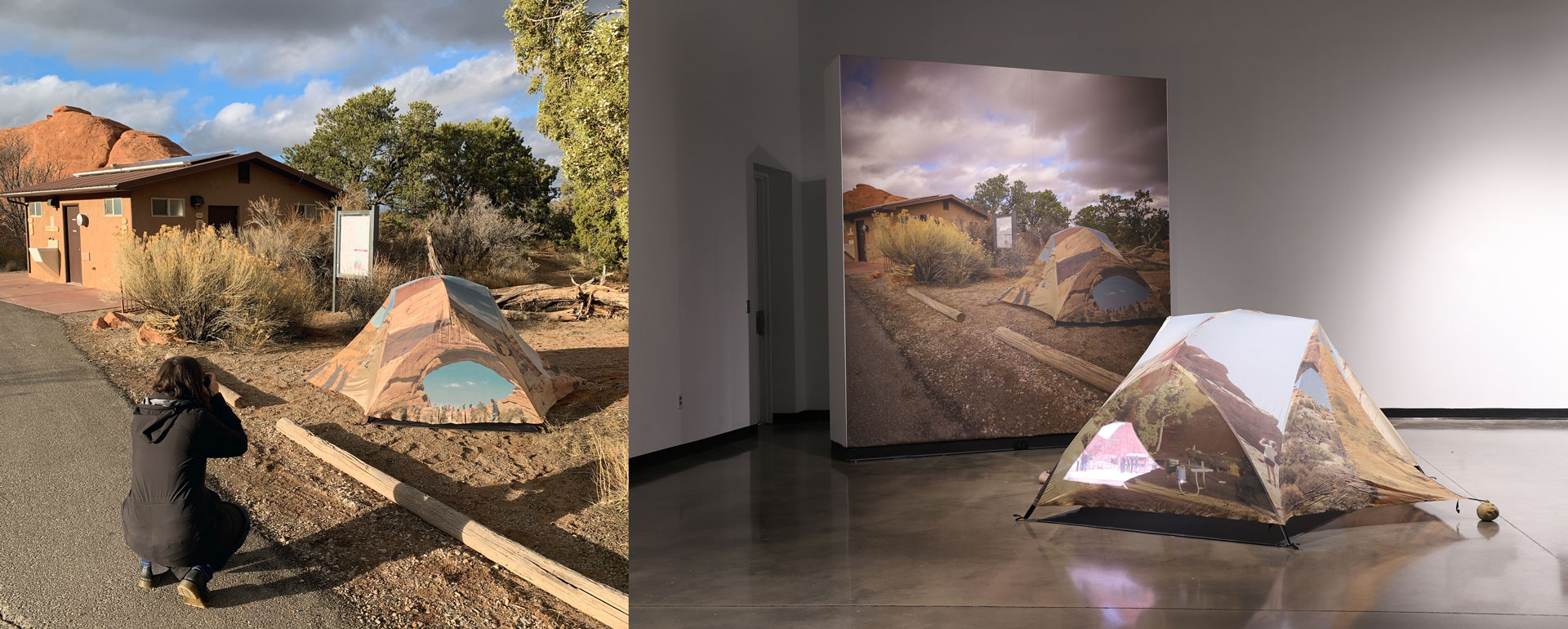 Katie Hargrave and Meredith Lynn The Arches tent in situ (left) and installed at The New Gallery at Austin Peay State University (right)