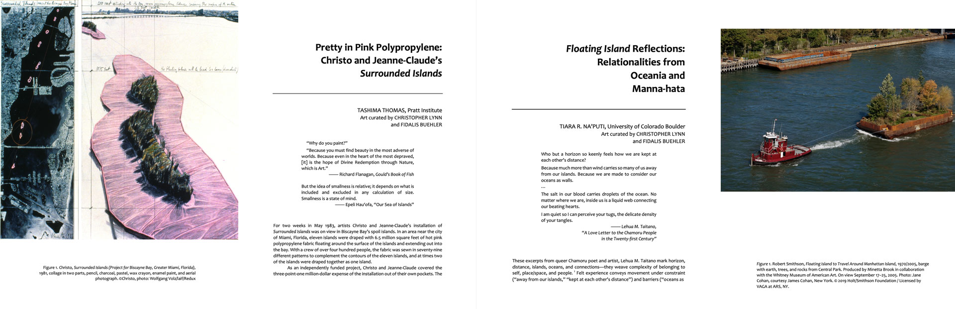 Journal of Transnational American Studies, spreads of essays on the work of Christo & Jeanne-Claude and Robert Smithson