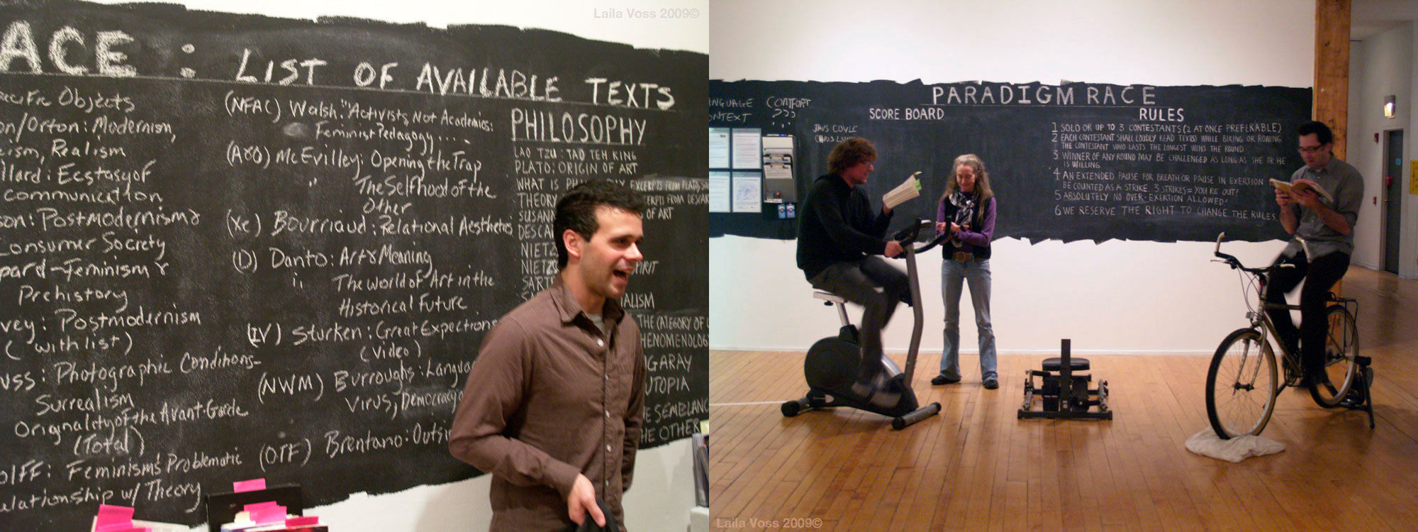 The Plum Academy, Paradigm Race competition with Laila Voss. Competitors had to race stationary biicycles while reading from dense rat theory texts. Any long pauses resulted in disqualification.